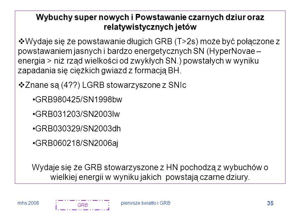 Znane są (4 ) LGRB stowarzyszone z SNIc GRB980425/SN1998bw