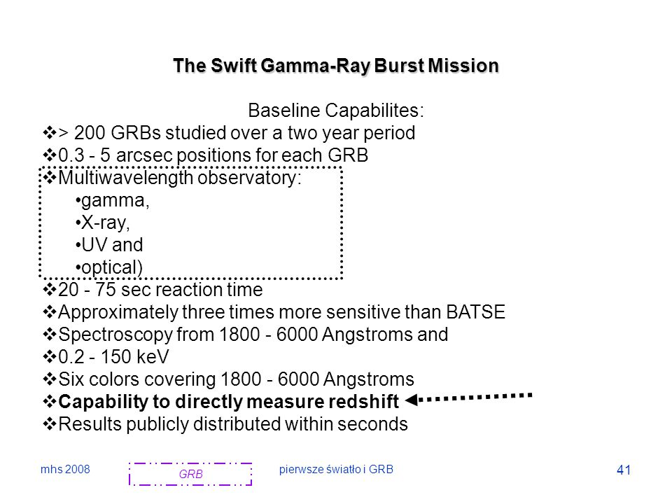 The Swift Gamma-Ray Burst Mission Baseline Capabilites: