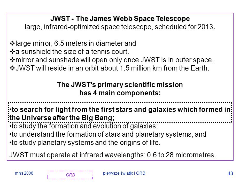 JWST - The James Webb Space Telescope