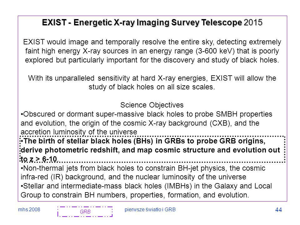 EXIST - Energetic X-ray Imaging Survey Telescope 2015
