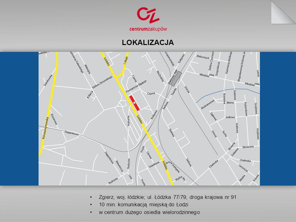 LOKALIZACJA Zgierz, woj. łódzkie; ul. Łódzka 77/79, droga krajowa nr 91. 10 min. komunikacją miejską do Łodzi.