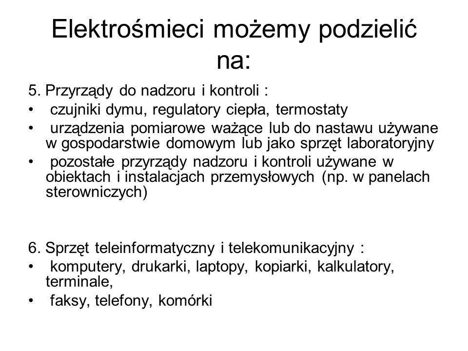 Elektrośmieci możemy podzielić na: