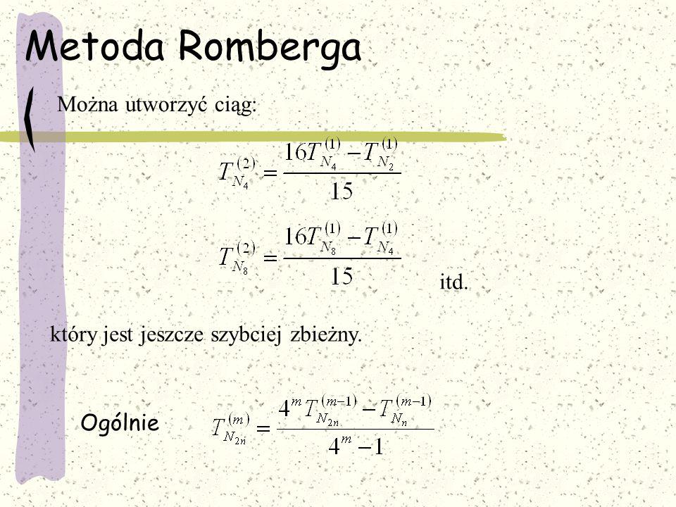 Metoda Romberga Można utworzyć ciąg: itd.