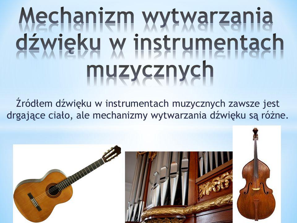Mechanizm wytwarzania dźwięku w instrumentach muzycznych