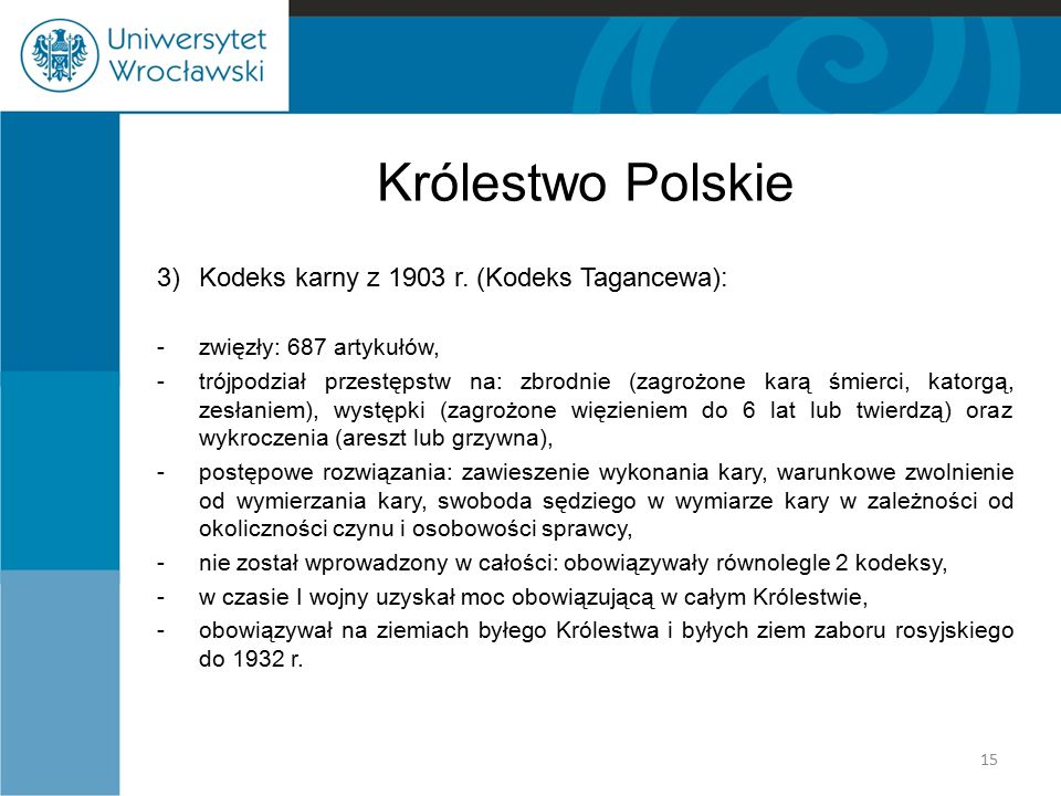 Królestwo Polskie 3) Kodeks karny z 1903 r. (Kodeks Tagancewa):