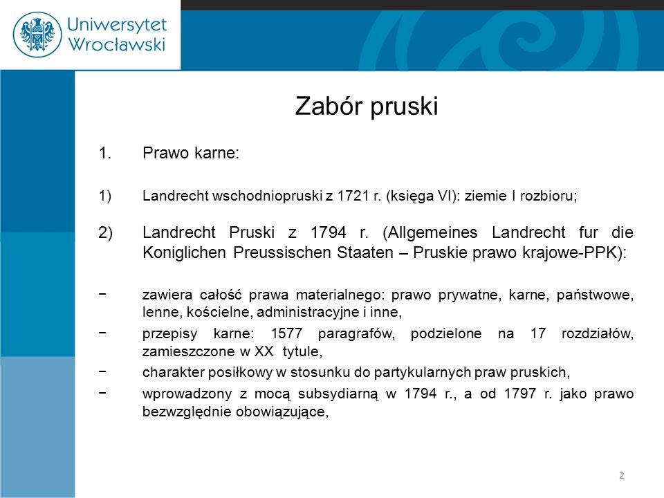 Zabór pruski Prawo karne: