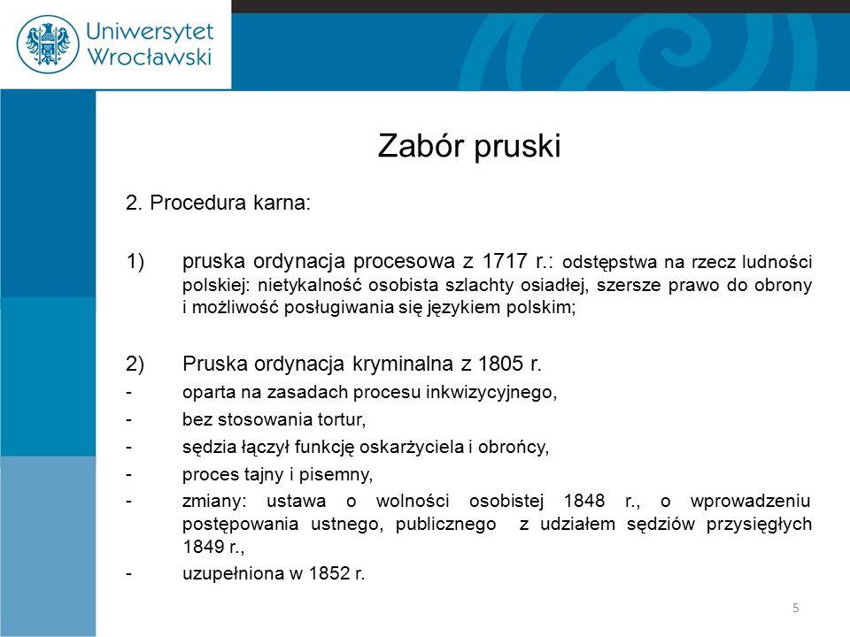 Zabór pruski 2. Procedura karna: