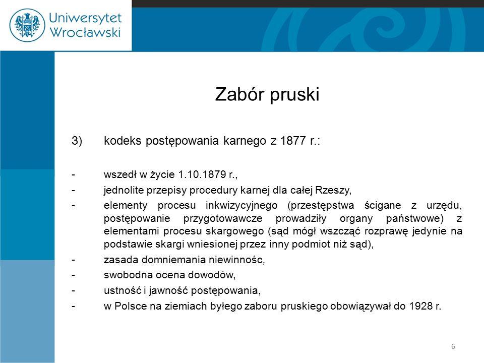 Zabór pruski 3) kodeks postępowania karnego z 1877 r.: