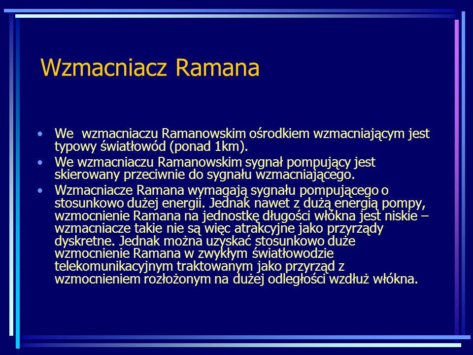 Wzmacniacz Ramana We wzmacniaczu Ramanowskim ośrodkiem wzmacniającym jest typowy światłowód (ponad 1km).
