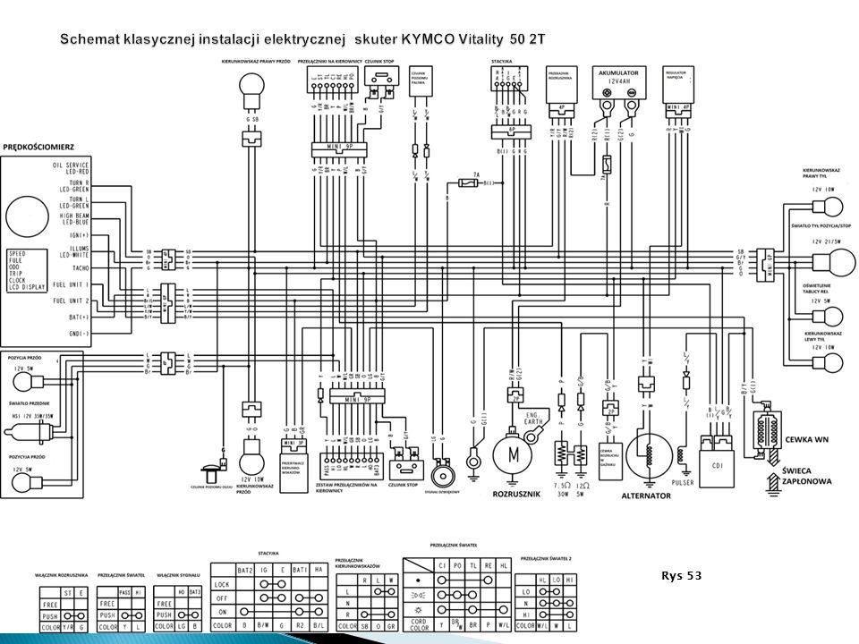 Schemat klasycznej instalacji elektrycznej skuter KYMCO Vitality 50 2T