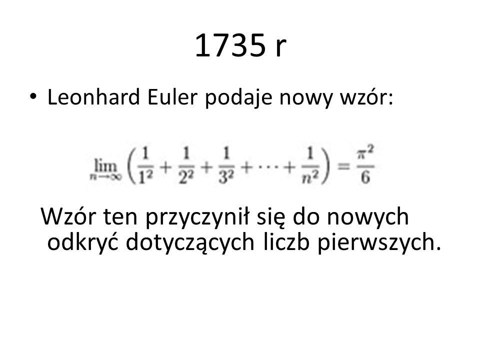 1735 r Leonhard Euler podaje nowy wzór: