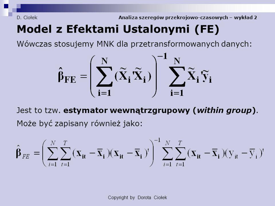 D. Ciołek Analiza szeregów przekrojowo-czasowych – wykład 2