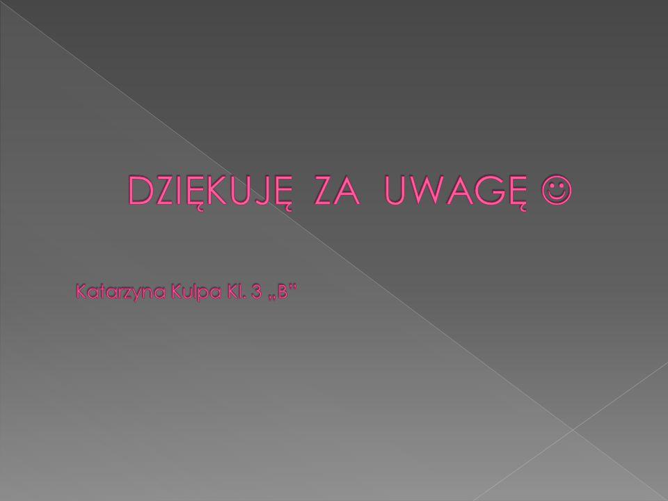 """DZIĘKUJĘ ZA UWAGĘ  Katarzyna Kulpa Kl. 3 """"B"""