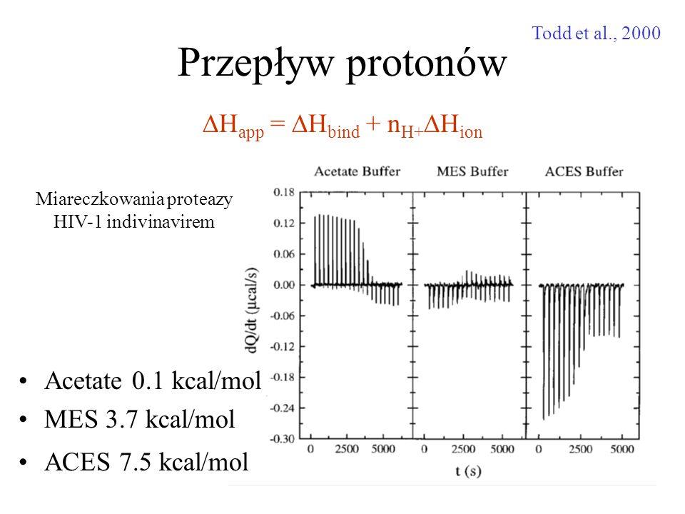Przepływ protonów DHapp = DHbind + nH+DHion Acetate 0.1 kcal/mol