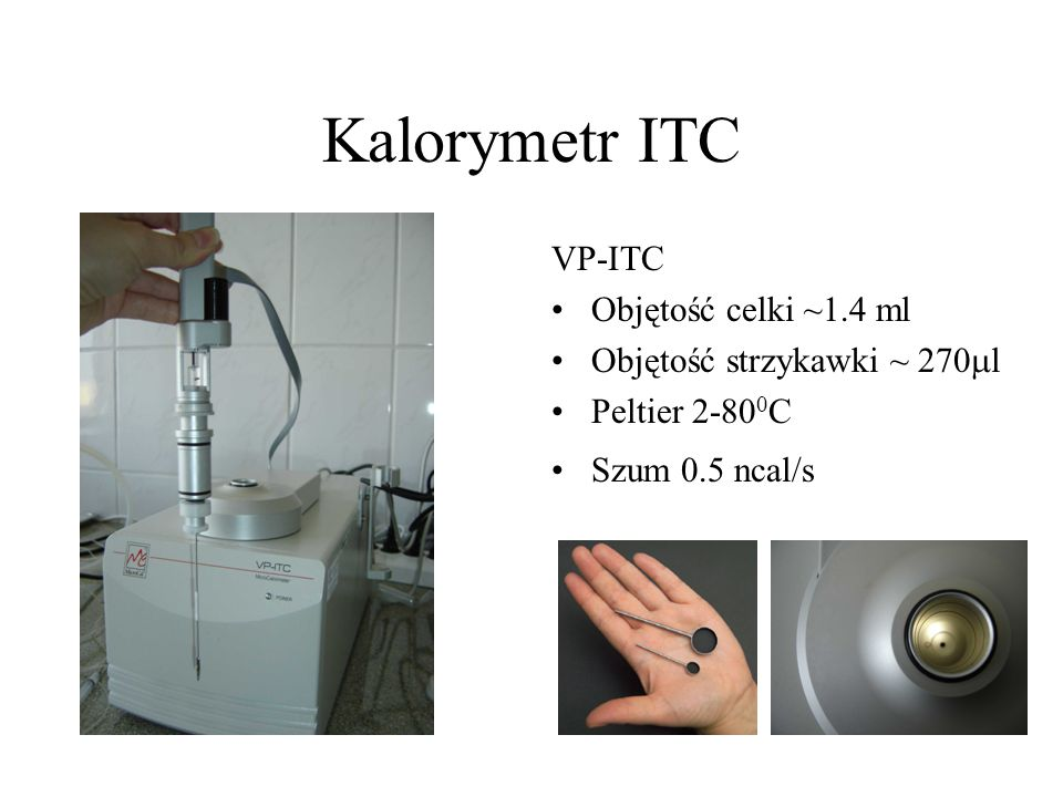 Kalorymetr ITC VP-ITC Objętość celki ~1.4 ml