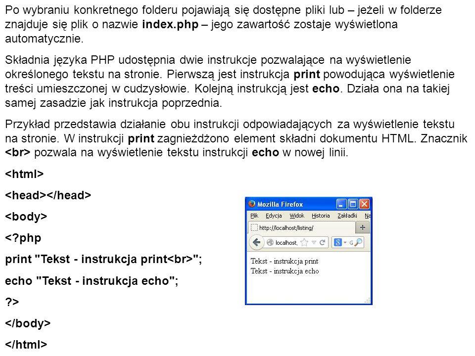 Po wybraniu konkretnego folderu pojawiają się dostępne pliki lub – jeżeli w folderze znajduje się plik o nazwie index.php – jego zawartość zostaje wyświetlona automatycznie.