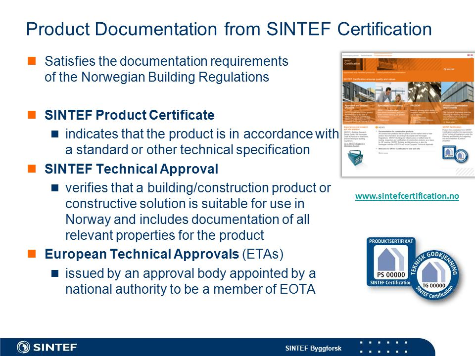 Product Documentation from SINTEF Certification