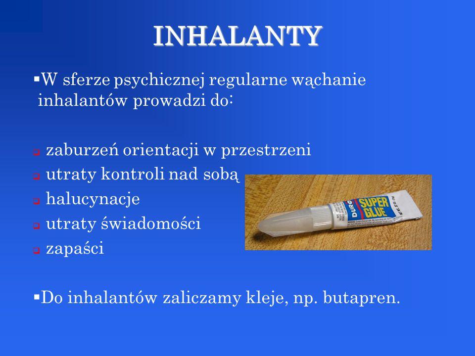 INHALANTY W sferze psychicznej regularne wąchanie inhalantów prowadzi do: zaburzeń orientacji w przestrzeni.