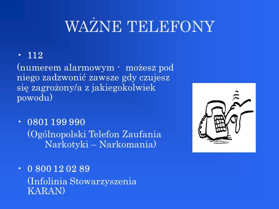 WAŻNE TELEFONY 112. (numerem alarmowym - możesz pod niego zadzwonić zawsze gdy czujesz się zagrożony/a z jakiegokolwiek powodu)