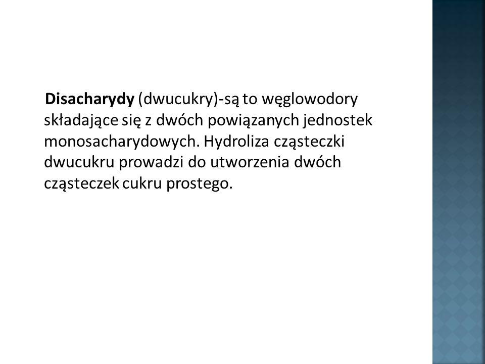 Disacharydy (dwucukry)-są to węglowodory składające się z dwóch powiązanych jednostek monosacharydowych.
