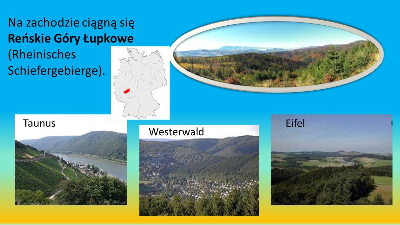 Na zachodzie ciągną się Reńskie Góry Łupkowe (Rheinisches Schiefergebierge).