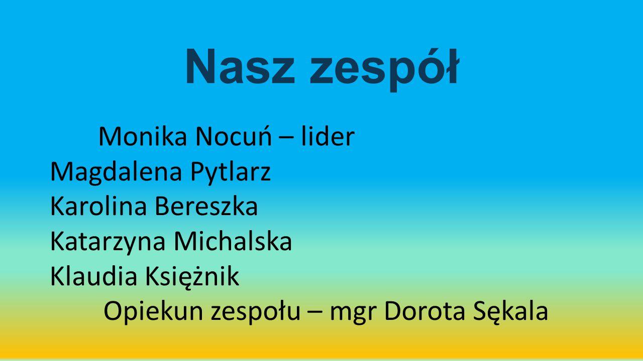 Nasz zespół Monika Nocuń – lider Magdalena Pytlarz Karolina Bereszka