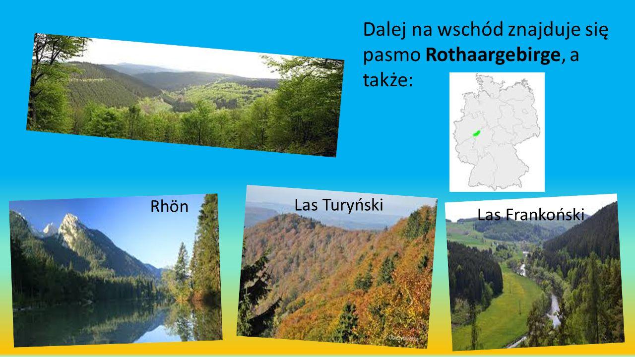 Dalej na wschód znajduje się pasmo Rothaargebirge, a także: