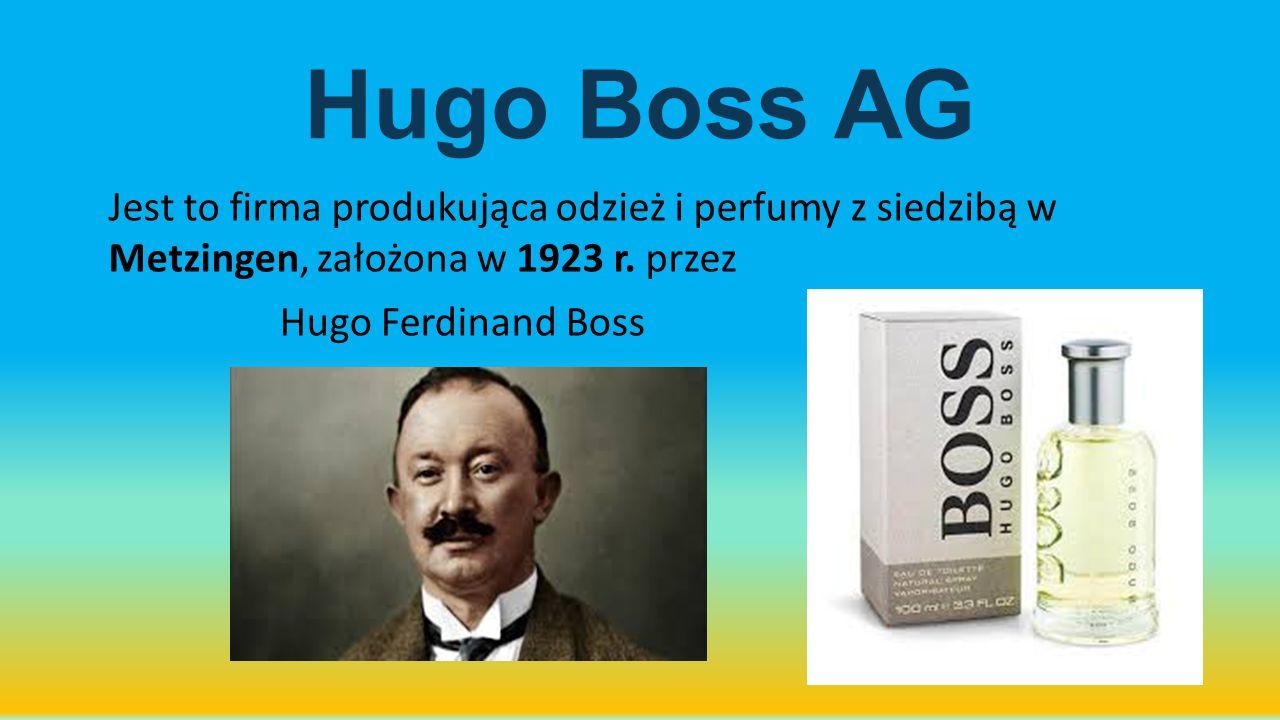 Hugo Boss AG Jest to firma produkująca odzież i perfumy z siedzibą w Metzingen, założona w 1923 r. przez.