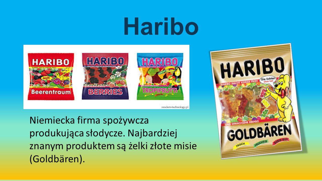 Haribo Niemiecka firma spożywcza produkująca słodycze.
