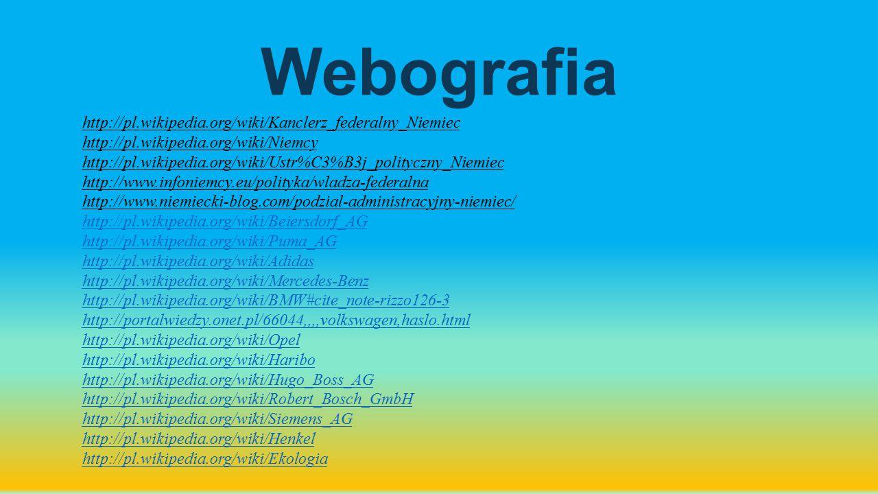 Webografia http://pl.wikipedia.org/wiki/Kanclerz_federalny_Niemiec