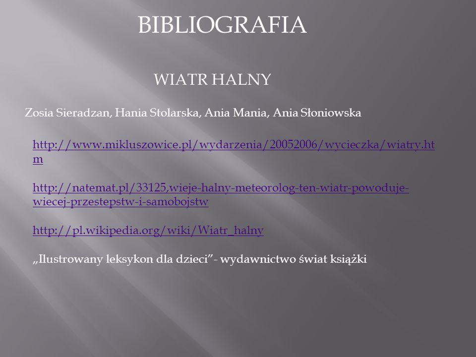 BIBLIOGRAFIA WIATR HALNY