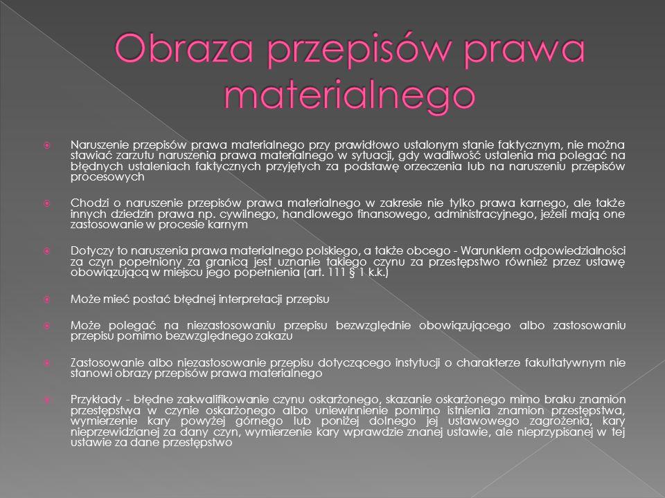 Obraza przepisów prawa materialnego