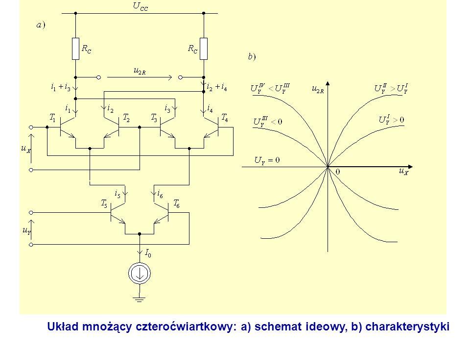 Układ mnożący czteroćwiartkowy: a) schemat ideowy, b) charakterystyki
