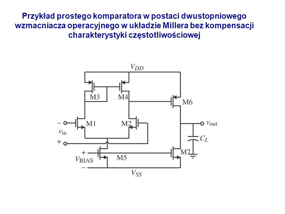 Przykład prostego komparatora w postaci dwustopniowego wzmacniacza operacyjnego w układzie Millera bez kompensacji charakterystyki częstotliwościowej