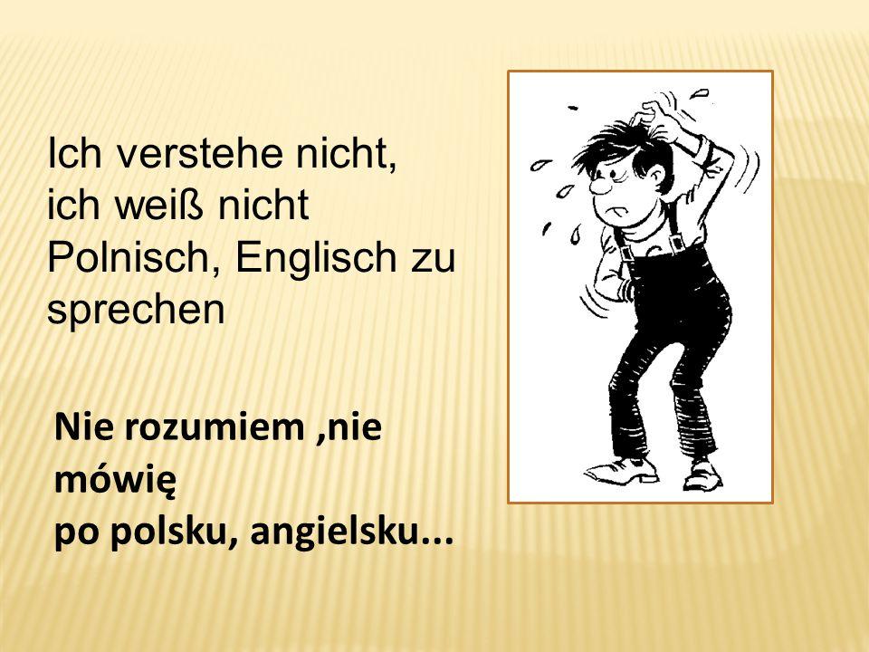Ich verstehe nicht, ich weiß nicht Polnisch, Englisch zu sprechen