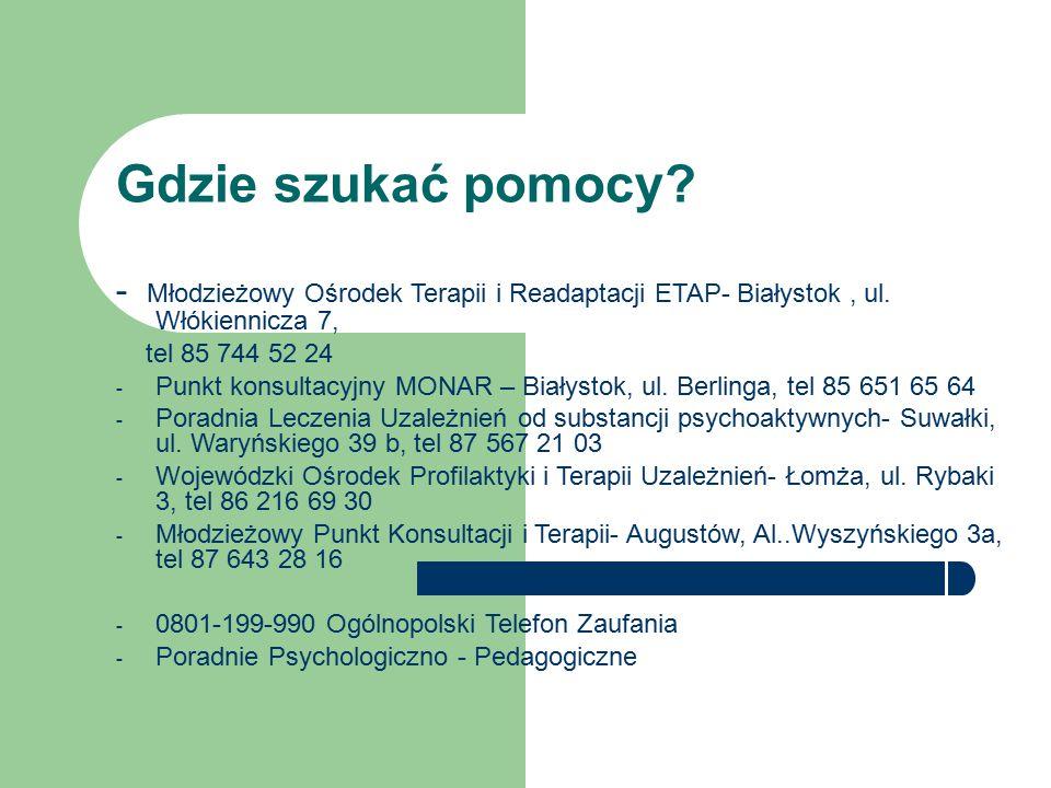 Gdzie szukać pomocy - Młodzieżowy Ośrodek Terapii i Readaptacji ETAP- Białystok , ul. Włókiennicza 7,