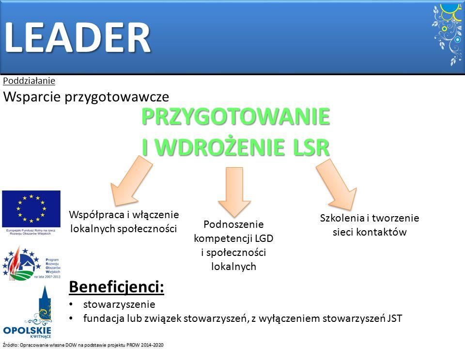 LEADER PRZYGOTOWANIE I WDROŻENIE LSR Beneficjenci: