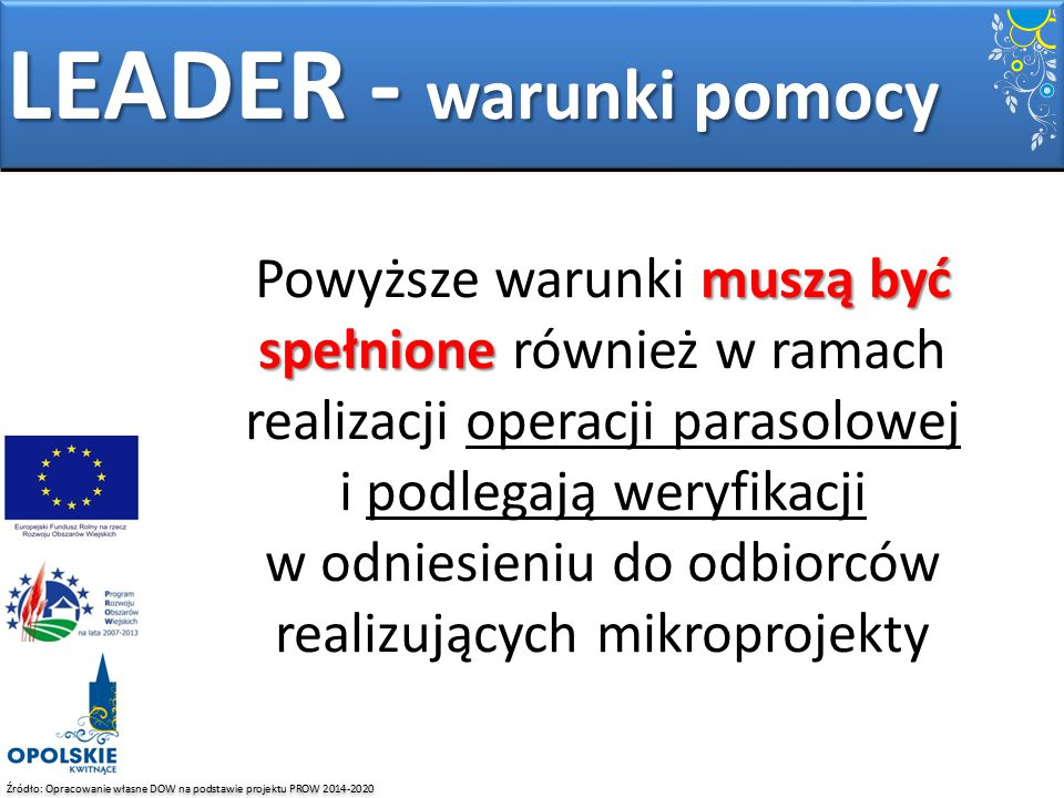 LEADER - warunki pomocy