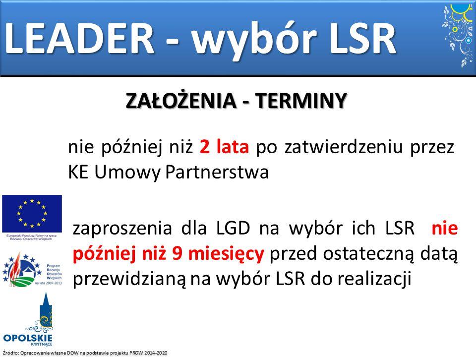 LEADER - wybór LSR ZAŁOŻENIA - TERMINY