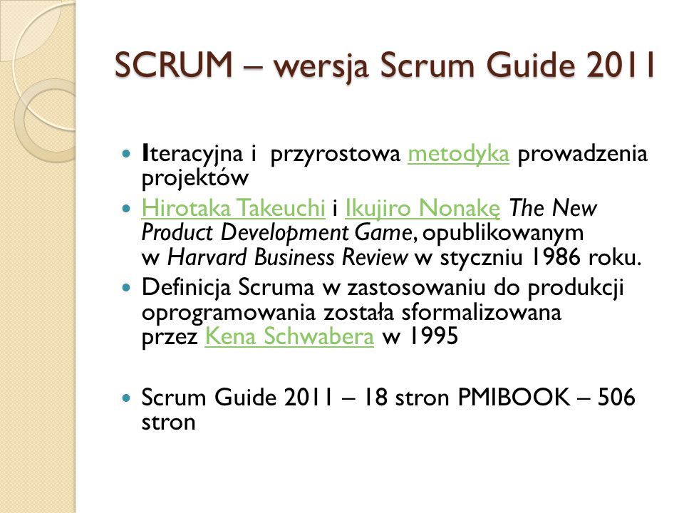 SCRUM – wersja Scrum Guide 2011