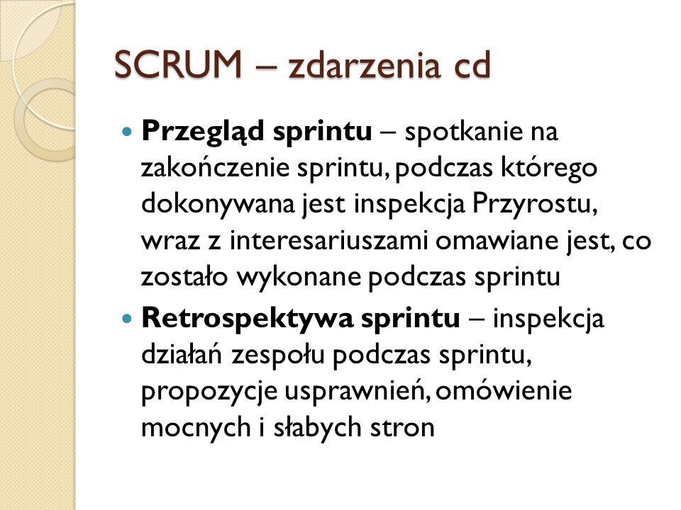 SCRUM – zdarzenia cd