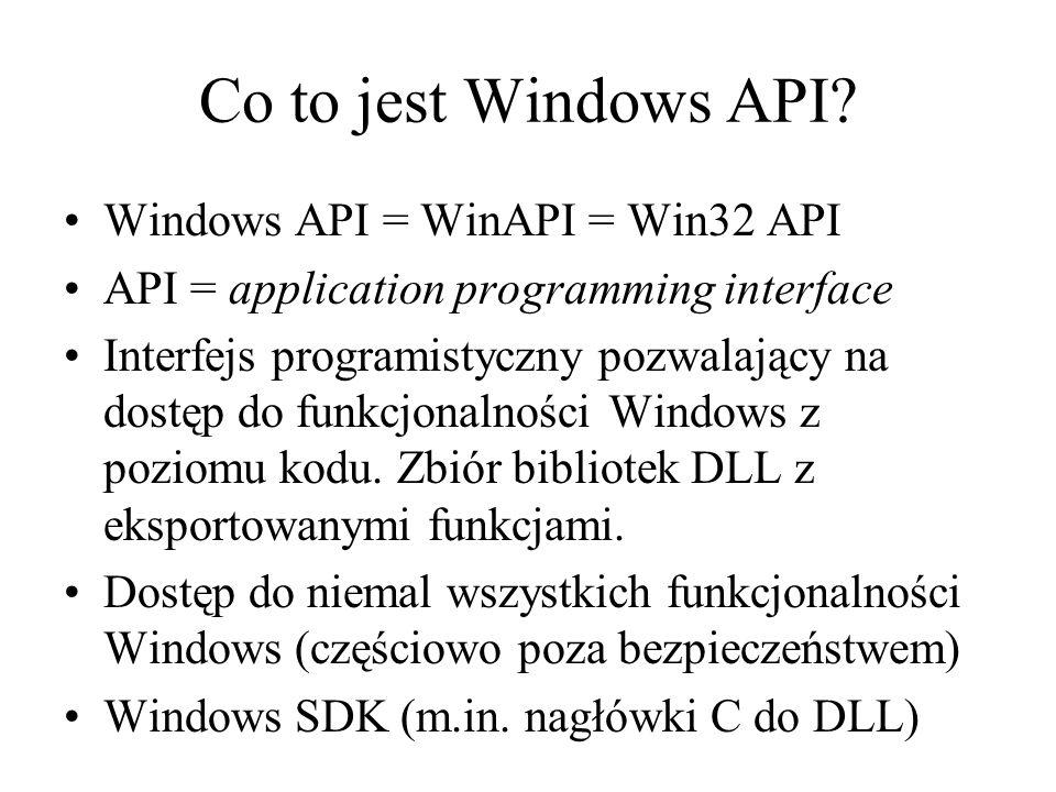 Co to jest Windows API Windows API = WinAPI = Win32 API