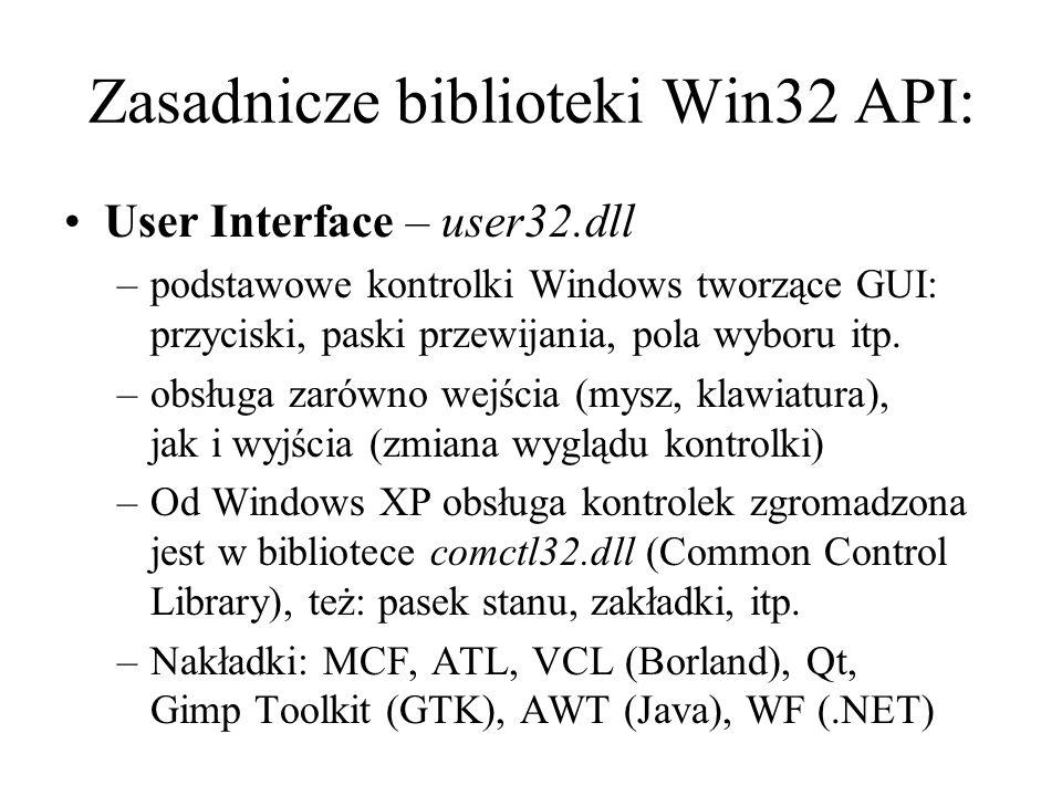 Zasadnicze biblioteki Win32 API: