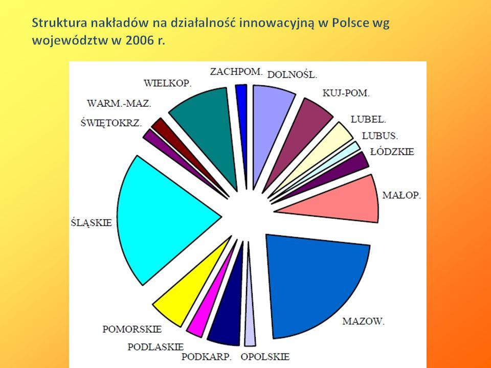 Struktura nakładów na działalność innowacyjną w Polsce wg województw w 2006 r.