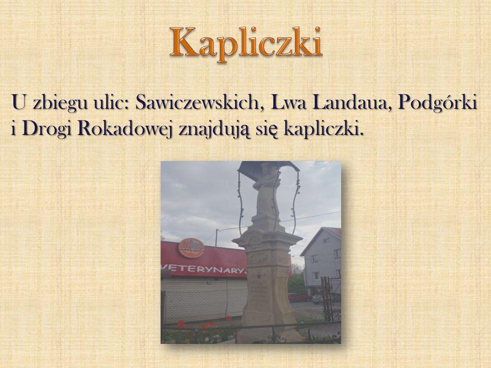 Kapliczki U zbiegu ulic: Sawiczewskich, Lwa Landaua, Podgórki i Drogi Rokadowej znajdują się kapliczki.