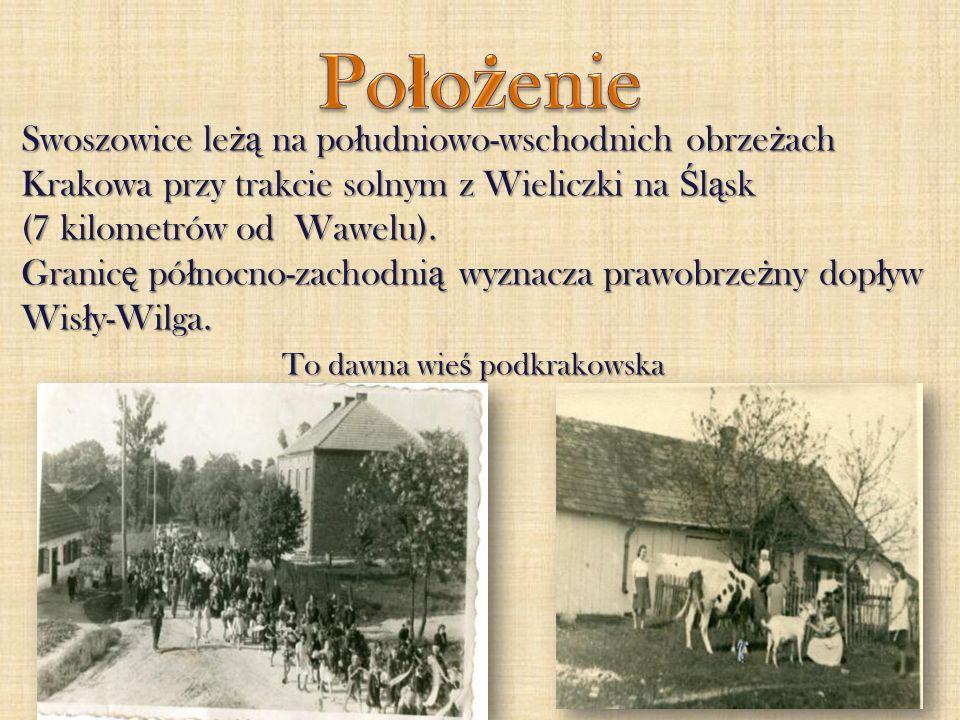 Położenie Swoszowice leżą na południowo-wschodnich obrzeżach Krakowa przy trakcie solnym z Wieliczki na Śląsk (7 kilometrów od Wawelu).