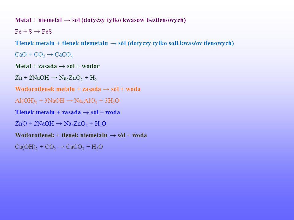 Metal + niemetal → sól (dotyczy tylko kwasów beztlenowych)