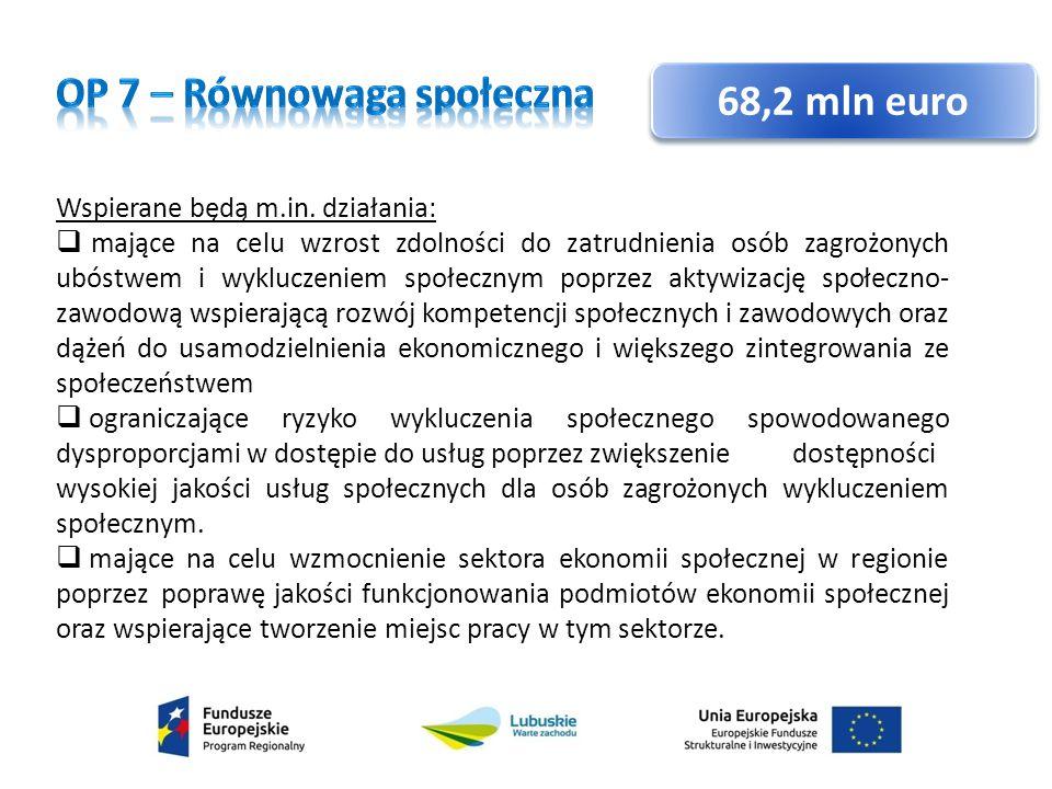 OP 7 – Równowaga społeczna 68,2 mln euro