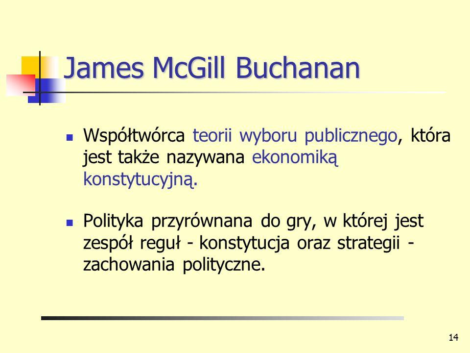 James McGill Buchanan Współtwórca teorii wyboru publicznego, która jest także nazywana ekonomiką konstytucyjną.