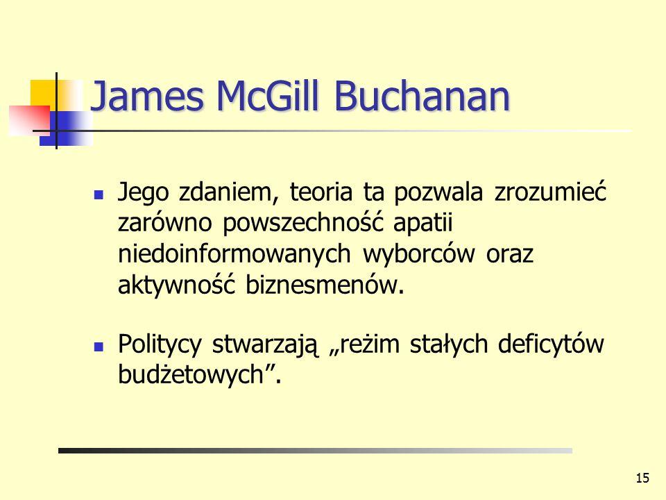 James McGill Buchanan Jego zdaniem, teoria ta pozwala zrozumieć zarówno powszechność apatii niedoinformowanych wyborców oraz aktywność biznesmenów.
